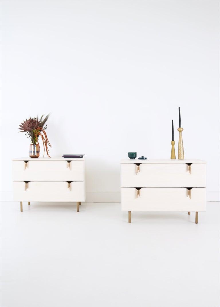 Contemporary Ribbon Bedside / Side Table, Ivory Ashwood, Bronze Hardware by Debra Folz For Sale