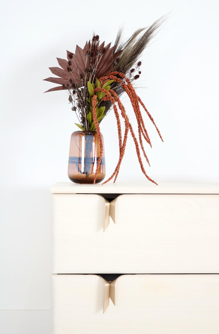 Ribbon Bedside / Side Table, Ivory Ashwood, Bronze Hardware by Debra Folz For Sale 1