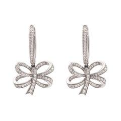 Ribbon Bow Diamonds 18k White Gold Dormeuses Earrings