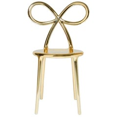 Ribbon Chair Metal Gold, by Nika Zupanc, Made in Italy, in Stock in Los Angeles