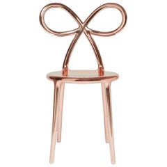 Ribbon Chair Metal Pink, by Nika Zupanc, Made in Italy, in Stock in Los Angeles