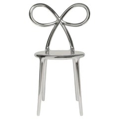 Ribbon Chair Metal Silver by Nika Zupanc, Made in Italy, in Stock in Los Angeles