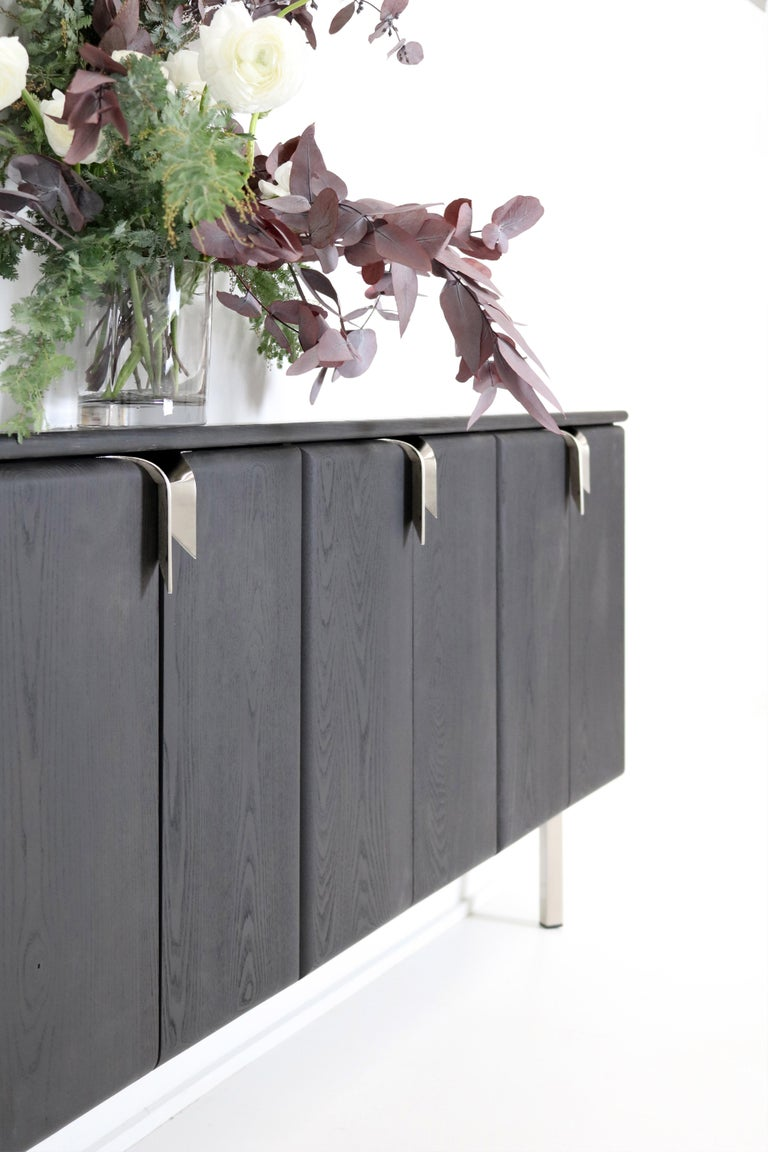 Other Ribbon Shallow Wood Console Black / Nickel by Debra Folz For Sale