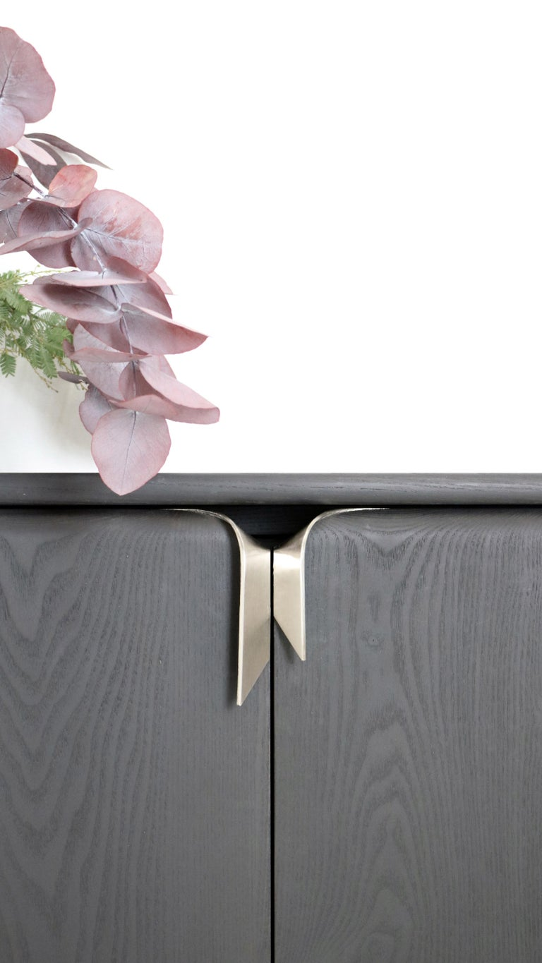 American Ribbon Shallow Wood Console Black / Nickel by Debra Folz For Sale