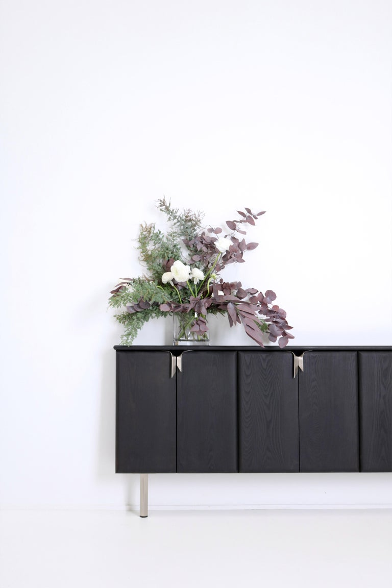 Cast Ribbon Shallow Wood Console Black / Nickel by Debra Folz For Sale