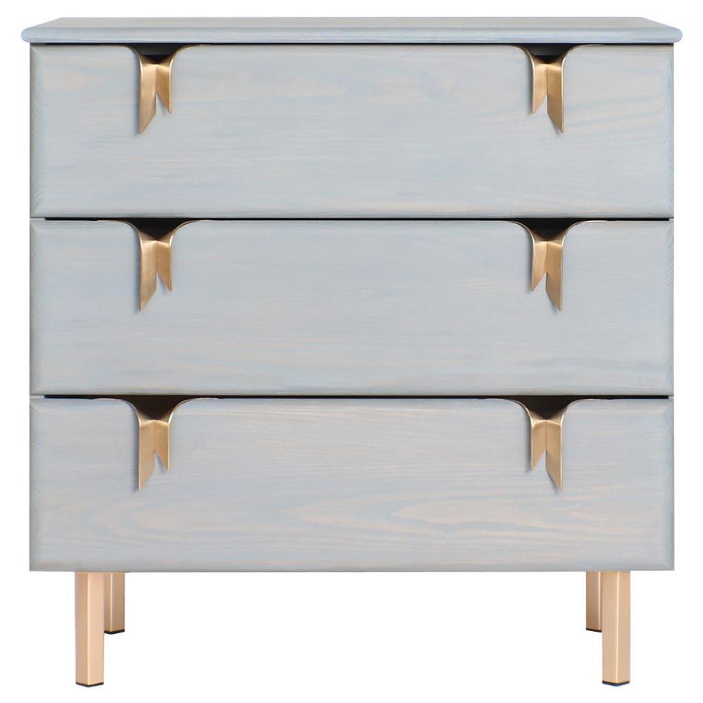 Ribbon 3 Drawer Dresser/Bedside - Gray Ash Wood - Bronze Hardware by Debra Folz