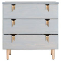 Ribbon 3 Drawer Dresser/Bedside - Gray Ash Wood - Bronze Hardware by Debra Folz