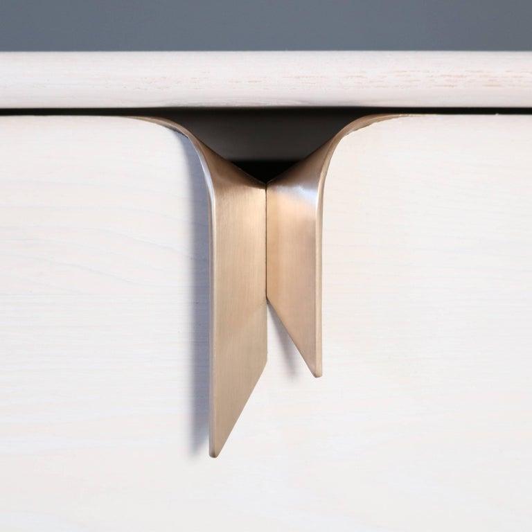 American Ribbon 3 Drawer Dresser/Bedside - Ivory Ash Wood - Bronze Hardware by Debra Folz For Sale