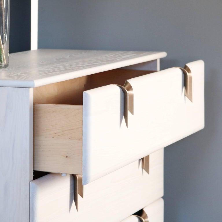 Cast Ribbon 3 Drawer Dresser/Bedside - Ivory Ash Wood - Bronze Hardware by Debra Folz For Sale