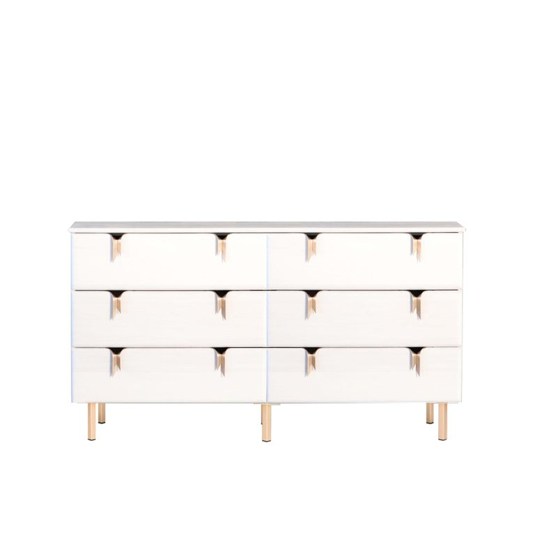 Ribbon 3 Drawer Dresser/Bedside - Ivory Ash Wood - Bronze Hardware by Debra Folz In New Condition For Sale In Pawtucket, RI
