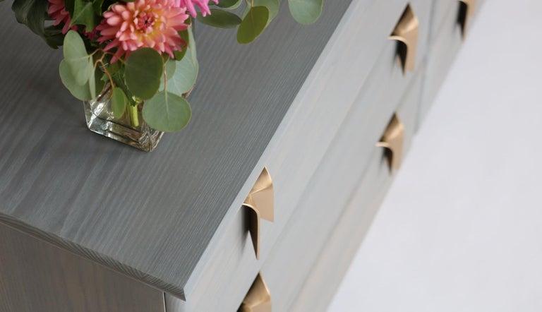 Contemporary Ribbon 3 Drawer Dresser/Bedside - Ivory Ash Wood - Bronze Hardware by Debra Folz For Sale