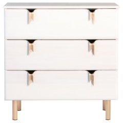 Ribbon 3 Drawer Dresser/Bedside - Ivory Ash Wood - Bronze Hardware by Debra Folz