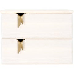 Ribbon Wall Mounted 2DR Bedside Table, Ivory Wood, Bronze Hardware by Debra Folz