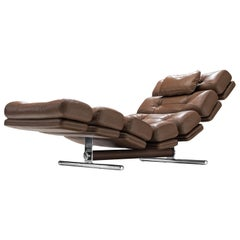 Ric Deforche for Gervan Chaise Lounge Model 'Lord' in Brown Leather