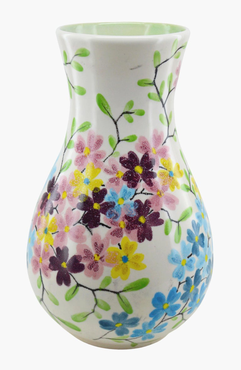 Midcentury ceramic vase by Ceramiques Ricard (Le Castellet and Bendor Island), France, 1950s. Hand painted by Octave Congui. Measures: Height 35 cm - 13.8 in., diameter 21.5cm - 8.5 in.