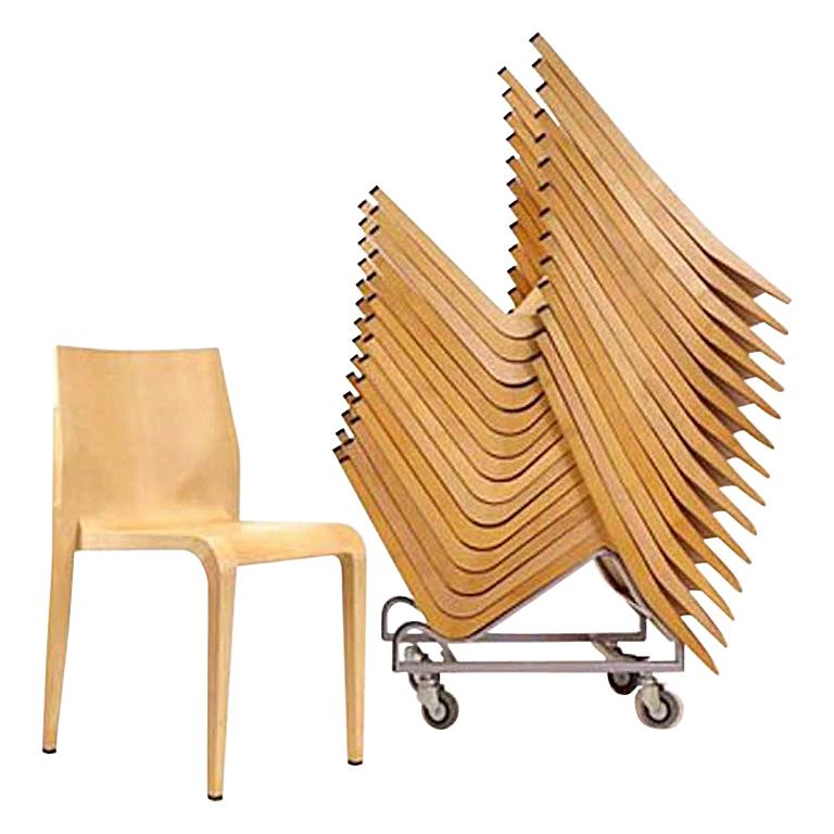 Ricardo Blumer for Alias, Laleggera' Stacking Maple Chairs and Trolleys