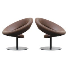 Ricardo Fasanello 'Anel' Leather Lounge Swivel Chairs, 1987, Signed Pair