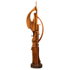 Ricardo Santamaria Hight Wooden Sculpture, 1970s