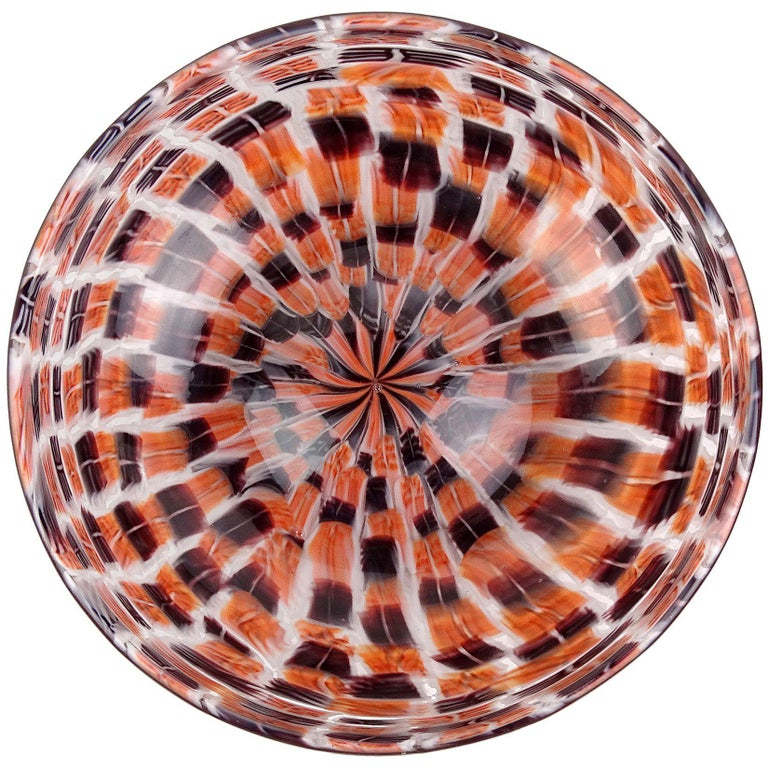 Riccardo Licata Murano Black Orange Murrine Italian Art Glass Decorative Bowl For Sale