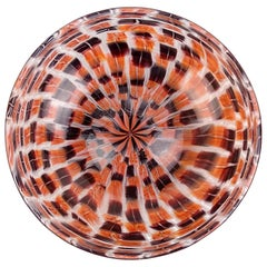 Riccardo Licata Venini Murano Black Orange Murrine Italian Art Glass Large Bowl