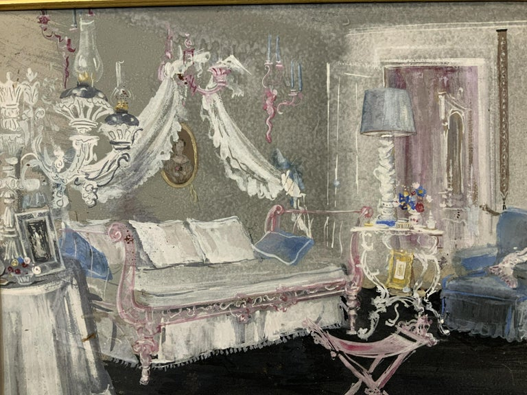 Riccardo Magni signed gouache on paper, a beautifully illustrated pastel of an interior with furniture from the 40's done in the way only the very high end made illustrations a work of art. The painting measures 18 1/2 x 22 1/2 inches, wooden frame