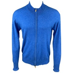 RICCARDO PIACENZA Size M Blue Heather Cashmere Zip Up Pullover Sweater