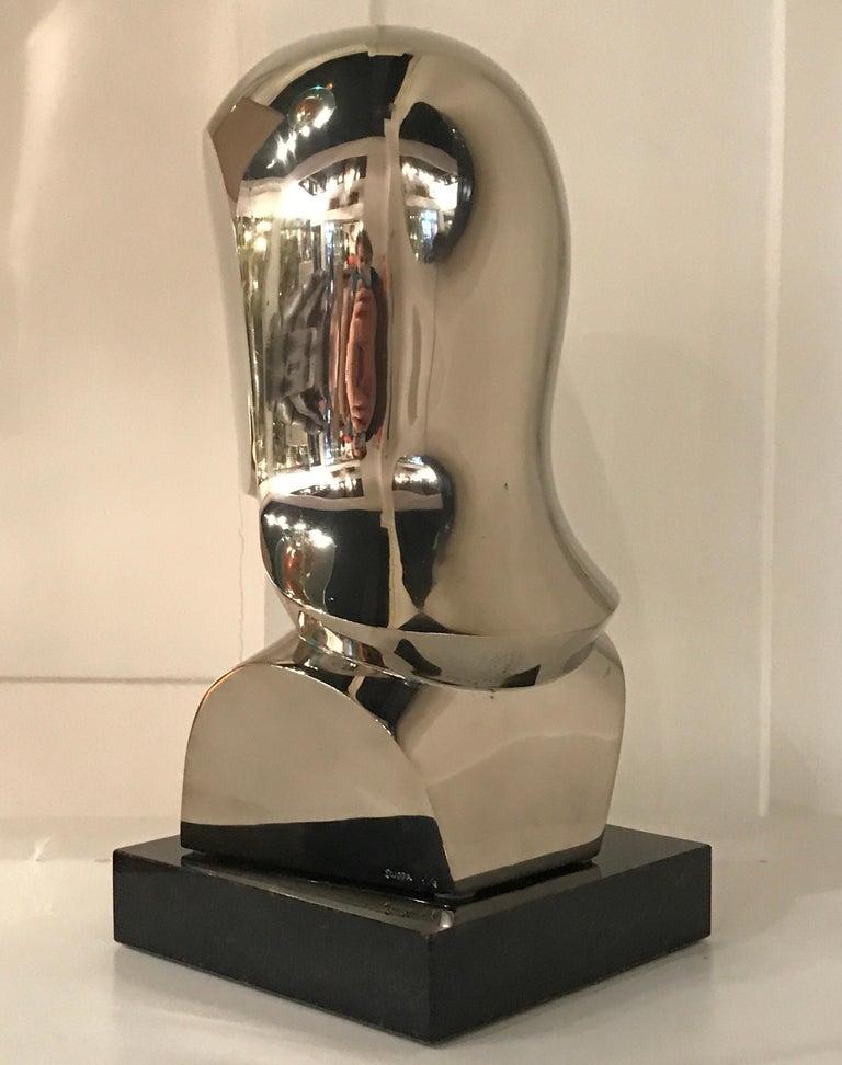Silver Plate Riccardo Scarpa Bronze Sculpture For Sale