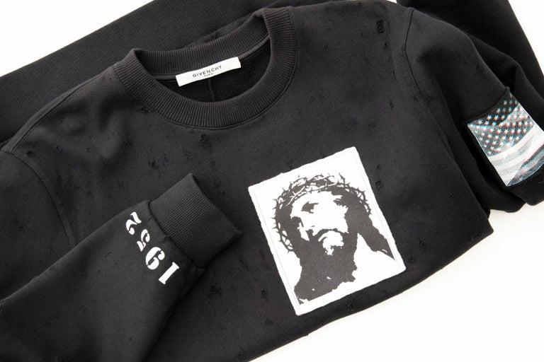 441027a9f06 Riccardo Tisci for Givenchy Black Men s Distressed Sweatshirt ...