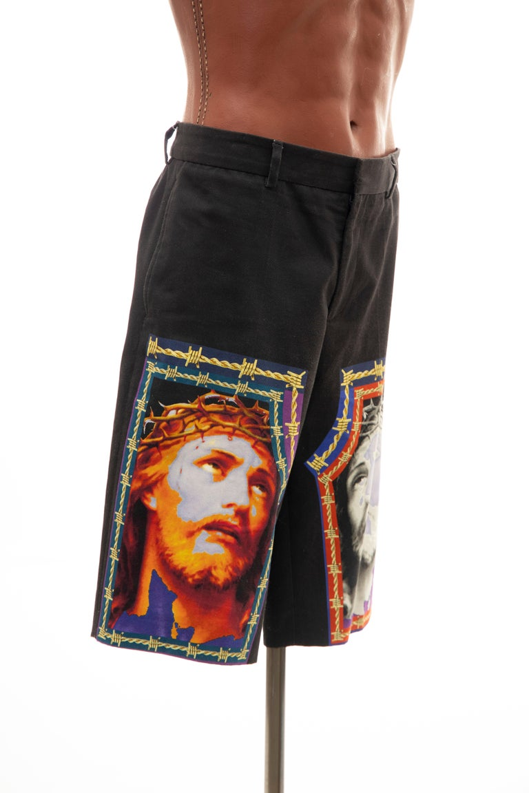 1aa203f8ce3 Riccardo Tisci for Givenchy Black Men s Printed Cotton Shorts ...