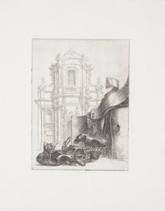 Baroque Rome - Original Etching by Riccardo Tommasi Ferroni - 1965