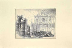 Cathedral - Original Etching by Riccardo Tommasi Ferroni - 1970s