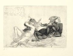 Courtship - Original Etching by Riccardo Tommasi Ferroni - 1970s