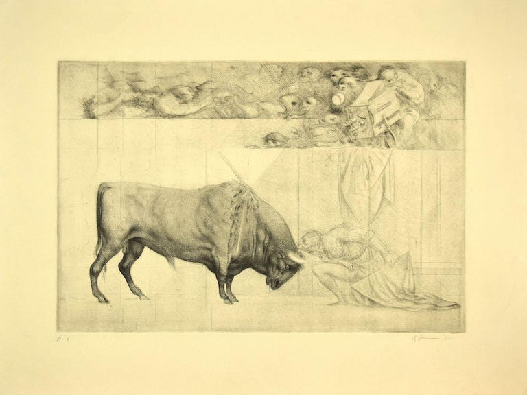 The Bull is an original etching artwork realized in 1965 by the Italian artist Riccardo Tommasi Ferroni (1934-2000).  Hand-signed on the lower right.  Artist's proof.  in good conditions.  Tommasi Ferroni's style is recognizable in the fluid