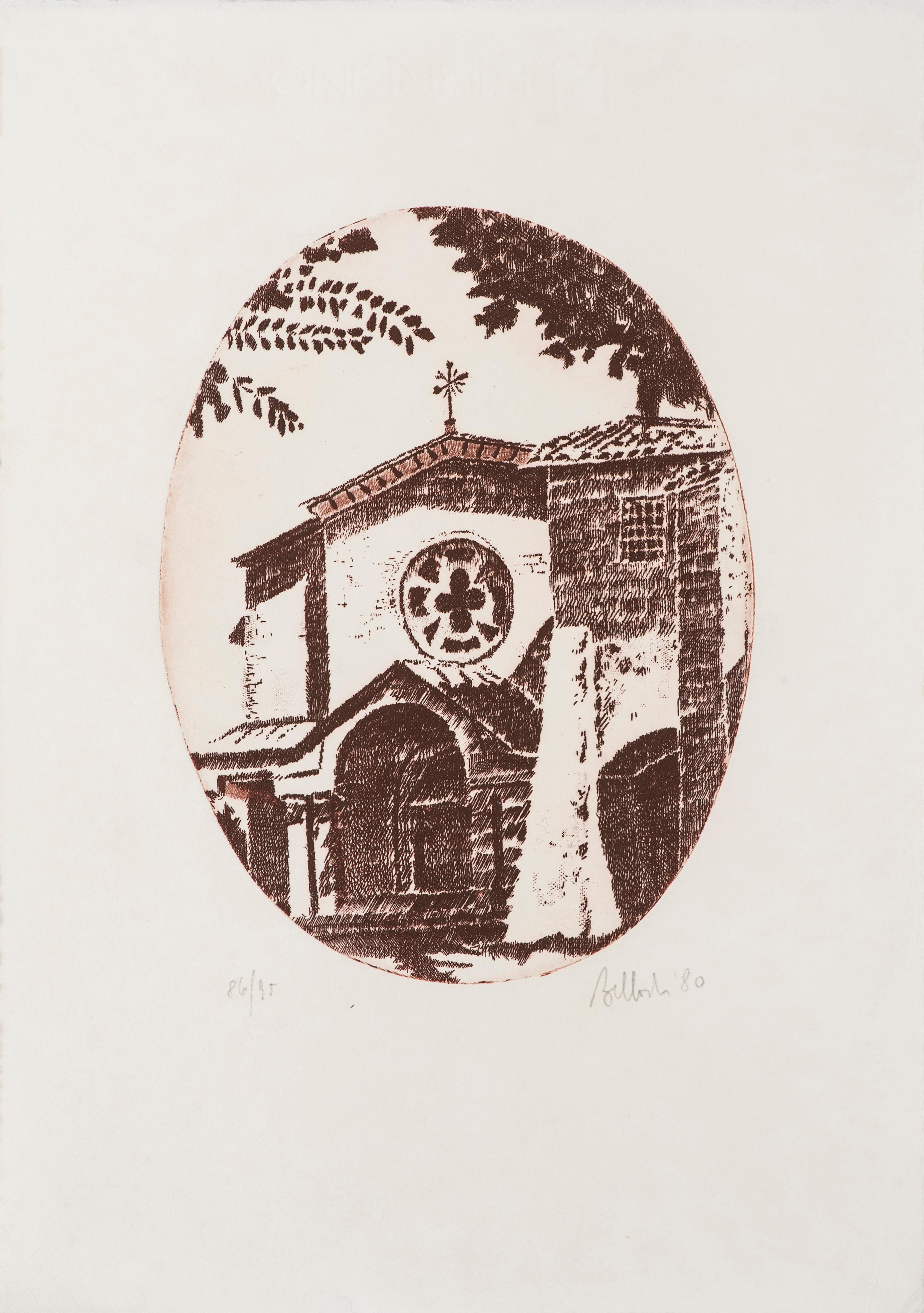 The Church - Original Etching by Riccardo Tommasi Ferroni - 1980