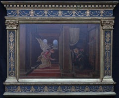 The Annunciation - Italian Victorian Pre-Raphaelite oil painting religious art