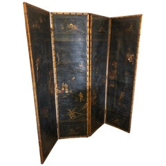 Rich Antique Black and Gold Chinoiserie Screen