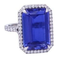 Rich Blue Platinum Tanzanite Diamond Ring