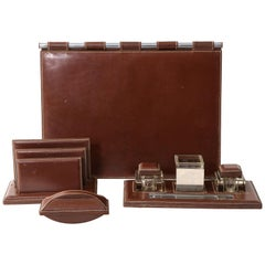 Rich Brown Leather Desk Set by Jacques Adnet, France, 1950s