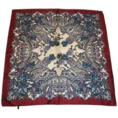 "Rich Burgundy ""Floral Entwined With Palseys"" Silk Scarf"