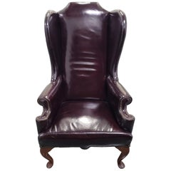 Burgundy Patent Leather Wing Back Chair, circa 1920