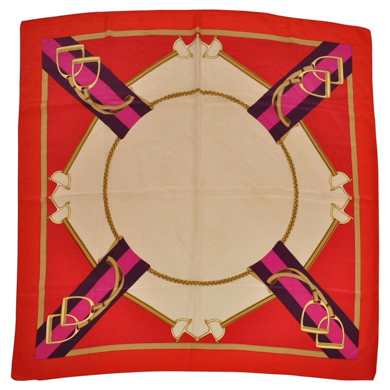 """Rich """"Circular Riding Gear"""" with Bold Red Borders Silk Scarf For Sale"""