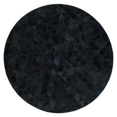 Rich Color Blocked Round Trilogia Charcoal Cowhide Rug by Art Hide