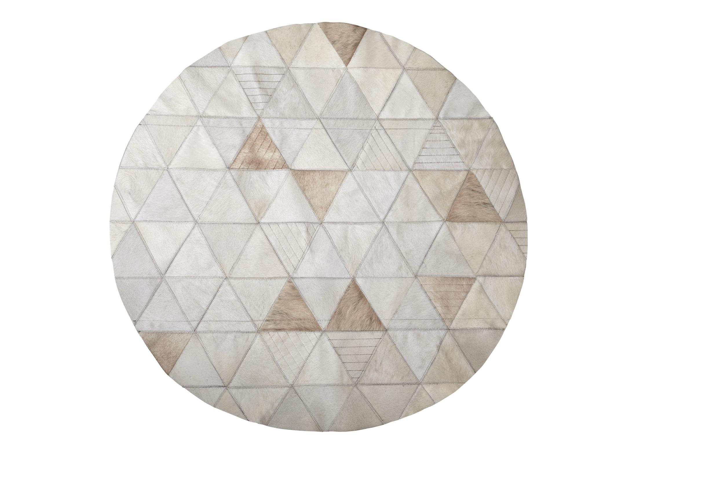 Rich Color Blocked Round Trilogia Cream Cowhide Rug By Art Hide