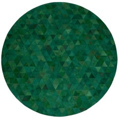 Rich Color Blocked Round Trilogia Emerald Cowhide Rug by Art Hide
