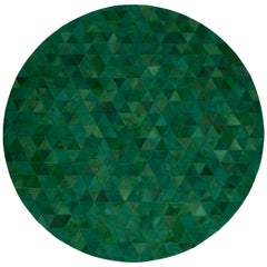 Jewel green Round small Trilogia Emerald Customizable Cowhide Area Rug