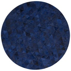 Rich Color Blocked Round Trilogia Midnight Blue Cowhide Rug Small