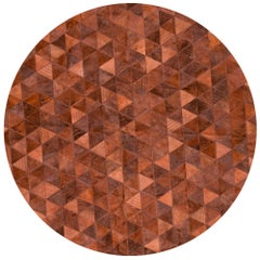 Rich Color Blocked Round Trilogia Terracotta Cowhide Rug by Art Hide