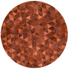 Terracotta Round Small Trilogia Customizable Cowhide Rug