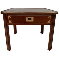 Rich English Mahogany and Brass Campaign Style End Table
