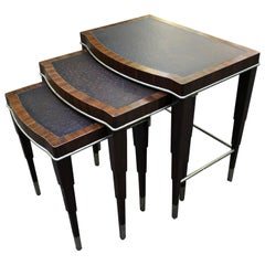 Rich Faux Ostrich and Mahogany Set of Nesting Tables